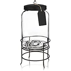 Style Setter Franklin Beverage Dispensers with Stand, Tag and Ceramic Knob, Clear, 3 Gallons