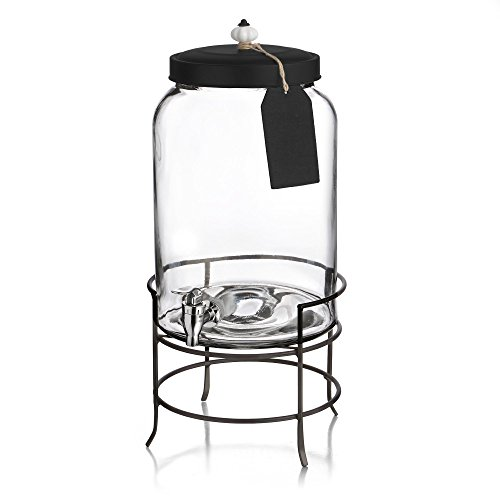 Bronze Fish Bowl - Style Setter Franklin 210235-GB 3 Gallon Glass Beverage Drink Dispensers with Metal Stand & Lid, Tag and Ceramic Knob, 10x17
