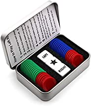 Annietfr Left Right Center Dice Game Set with 3 Dices + 36 Pcs Colorful Chips