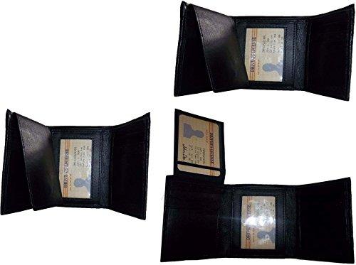Negro De Tarjeta Billetera 2 Gran Cantidad La 6 Bolsillo De Identificación 2 De Bn Tríptico Cuero Billetero Nuevo Hombre Del 3 Zqq5axt