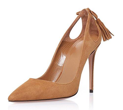 Stilettos Escarpins Enfiler Talon Femmes Chaussures Heels Marron High Ubeauty Aiguille Houppe Taille Grande tTIwp