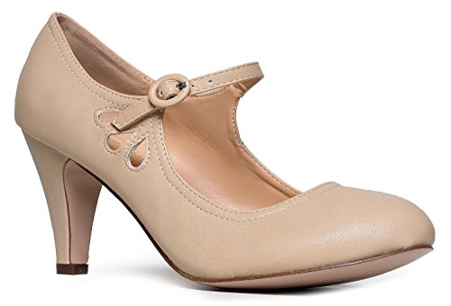 Kitten Heels Mary Jane Pumps By Zooshoo- Adorable Vintage Shoes- Unique Round Toe Design With An Adjustable Strap,Nude,8.5 B(M) US -
