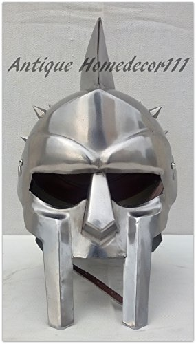 [Wearable Gladiator Helmet Silver Finish Medieval Leonidas Horror Role Play Costume For Halloween] (Leonidas Helmet Costume)