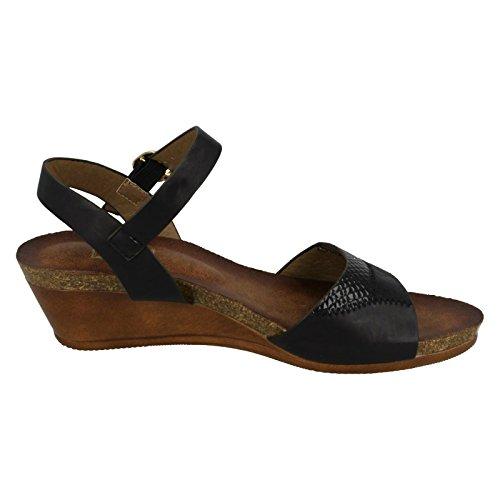 Ladies Down To Earth Mid Wedge Mule Sandals Black 9087I7