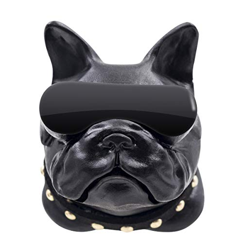 (DRAWIGER Mini Aroma Diffuser for Car Vent Clip Air Freshener for Essential Oil and Perfume with Refill Bottle, French Bulldog, Black)