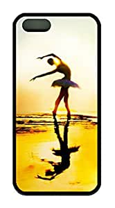 Beautiful Ballet Dancer Theme Case for IPhone 5 5S Rubber Material Black