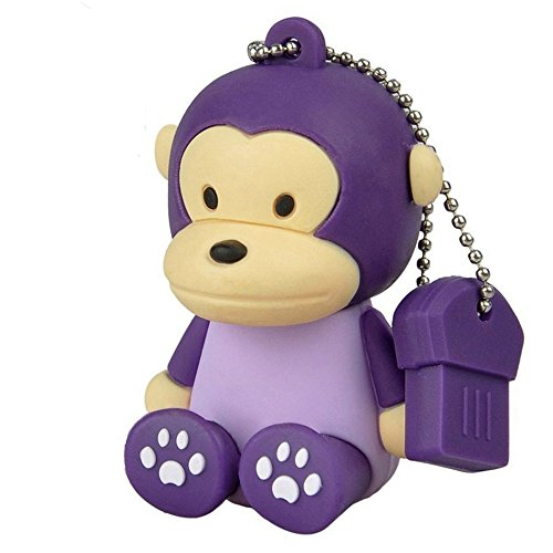 Aneew Purple Pendrive 32GB U Disk Monkey Animal USB Flash Drive Memory Thumb Disk ()