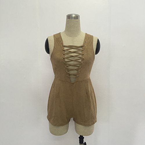 Mojessy Women's Sexy Sleeveless V Neck Lace up Clubwear Rompers Jumpsuits Playsuit Medium Brown