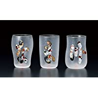 Aderia Japan Edo Neko (cat) Craft Beer Glass Cute Cats なまず (Namazu) S-6219 Premium Glass Set w/Special Box from Japan