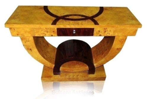 Unconventional Art Deco style Elm Walnut Console Table Art Deco Walnut Table