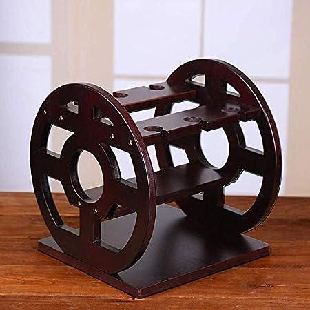 Estantería de vino Titular de la botella de vino, estante del vino sólido soporte de la rueda de vino de madera de vidrio puede sostener 3 botellas de vino 3 Alto de cristal for la decoración del hoga