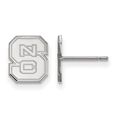 10k White Gold LogoArt Official Licensed Collegiate North Carolina State University (NCSU) XS Post Earrings by LogoArt