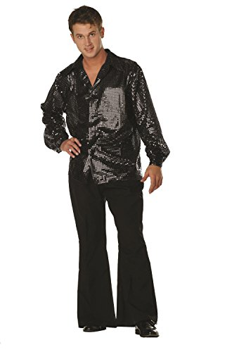 [70s Disco Inferno - 70s Sequin Black] (Mens Disco Costumes Pants)