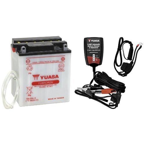 Yuasa YUAM2221Y YB12AL-A Battery and Automatic Charger Bundle 12 Amp Automatic Battery Charger
