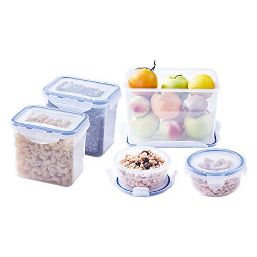 Large Size Food Storage Containers, Sugar Flour Plastic Containers 10 pc (set of 5), Airtight, Leakproof, BPA Free, Microwave, Freezer & Dishwasher Safe