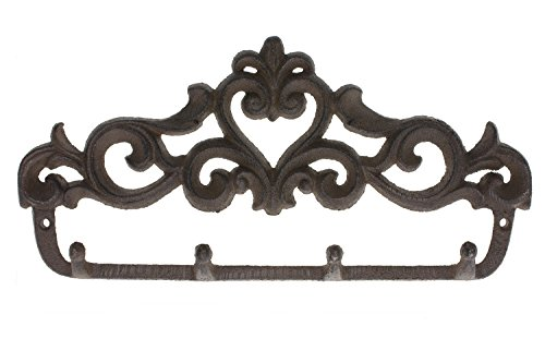 (Comfify Decorative Cast Iron Wall Hook Rack - Vintage Design Hanger with 4 Hooks - for Coats, Hats, Keys, Towels, Clothes, Aprons etc |Wall Mounted - 13.6 x 7- with Screws and Anchors)
