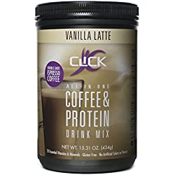 CLICK Coffee Protein | Protein & Real Coffee, All-In-One| Meal Replacement |Nutrition Drink | 23 Essential Vitamins | Double Shot Espresso Coffee | Hot or Cold |Vanilla Latte Flavor