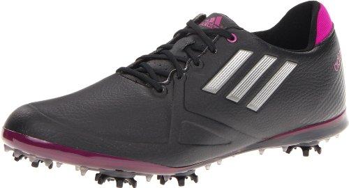 adidas Women's Adizero Tour Golf Shoe,Black/Dark Silver Metallic/Passion,7 M US
