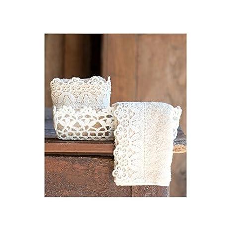 "Blanc Mariclo – ""macramé cesta con 2 toallas pequeñas"