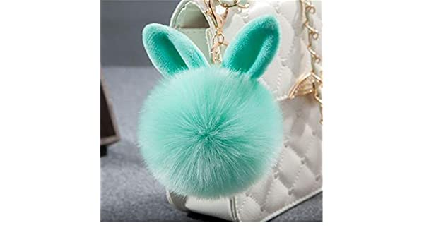 Amazon.com: JEWH Fur Pom Pom Keychains Fake Rabbit -Fur Ball Key Chain Porte Clef Pom Pom -De Fourrure Fluffy Bag Charms Bunny Keychain (Green): Arts, ...
