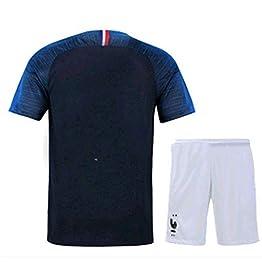 Maillot France 2 Étoiles Non Imprimé, Costume De Football pour Les Jeunes, Costume pour Enfant, T-Shirt Et Short Double Étoile De La Coupe du Monde De Football 2018,18