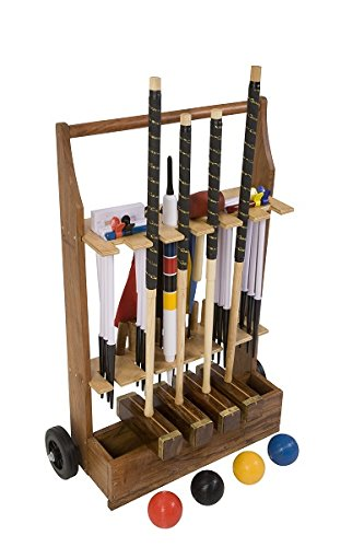Uber Games Bundle - 2 Items 9 Wicket Croquet Set with Wooden Croquet Trolley Cart - Championship - 4 Player
