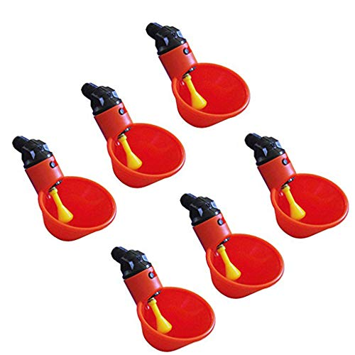 Drinker Painting - Tharv❤Feed Automatic Bird Coop Poultry Chicken Fowl Drinker Water Drinking Cups 6Pcs Red