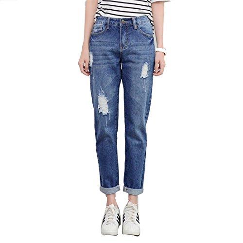 en ajustados Azul Rasgada Skinny mujeres Jeans estiramiento pantalones relajado Ruede Dunland arriba para de jean Elástico dificultades wBqTyp68