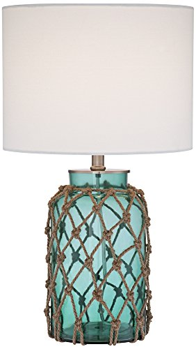 Crosby Blue-Green Bottle with Rope Glass Table Lamp