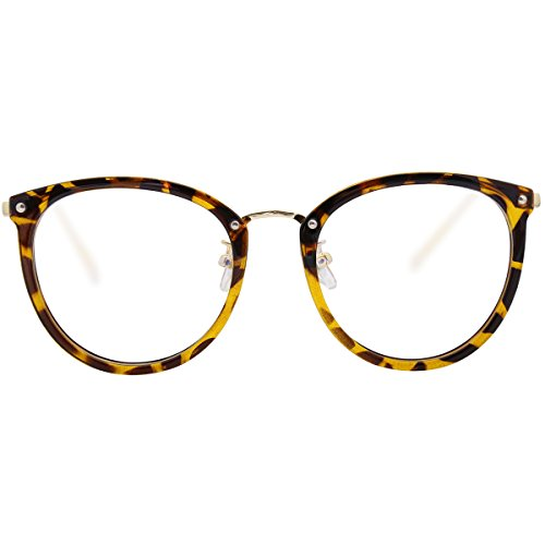 Amomoma Fashion Round Eyewear Frame Eyeglasses Optical Frame Clear Lens Glasses Tortoise/Gold (Lens Tortoise Gold)