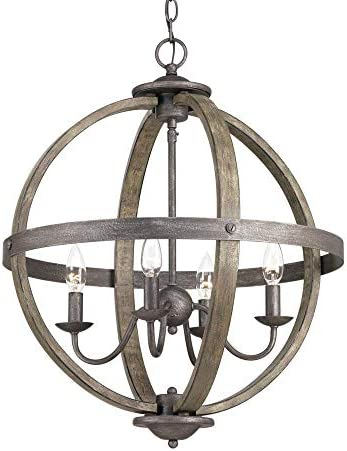 Progress Lighting Keowee Collection 19.88 in. 4-Light Artisan Iron Orb Chandelier with Elm Wood Accents