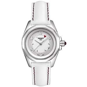 Tissot T0080101603700 - Reloj analógico de mujer de cuarzo con correa de piel blanca