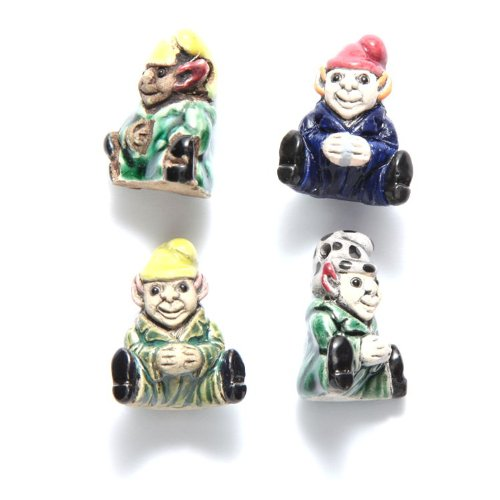 Shipwreck Beads 24mm Peruvian Hand Crafted Ceramic Sitting Gnome Beads, Assorted Color, 10-Per-Pack VN417-MX