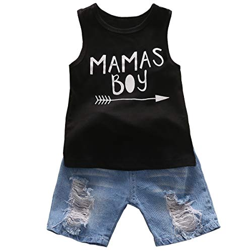 - CANDYEEMMA Mamas BOY Baby Boy Summer Outfits Toddler Clothes Black T-Shirt and Jean Shorts 2pcs Pant Sets (4-5T, 120)
