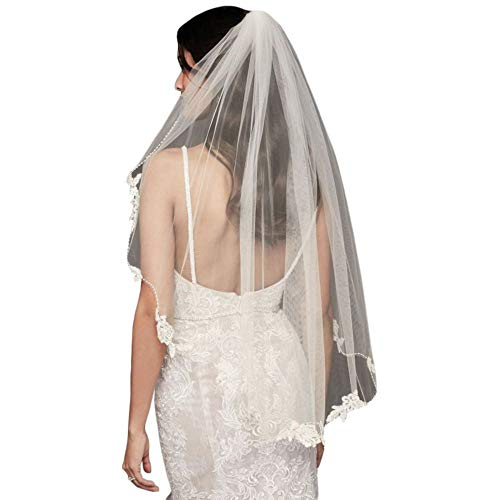 Floral Lace and Crystal Trimmed Elbow Length Veil Style 334, Ivory
