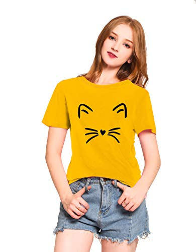 (PINJIA Womens Cute Letter Printed Graphic Funny CAT FACE Tshirt Top Tees(MX15)(XXXL, Yellow Cat))