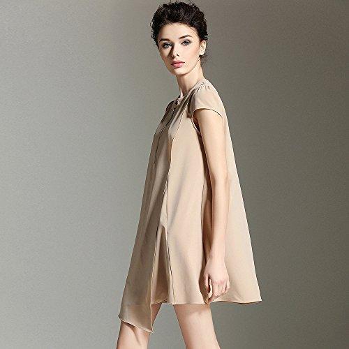 El Vestido Suelto Verano Primavera Shirt ZHUDJ Gran Swing T Y Mujer Vestido La Khaki Swqx7t