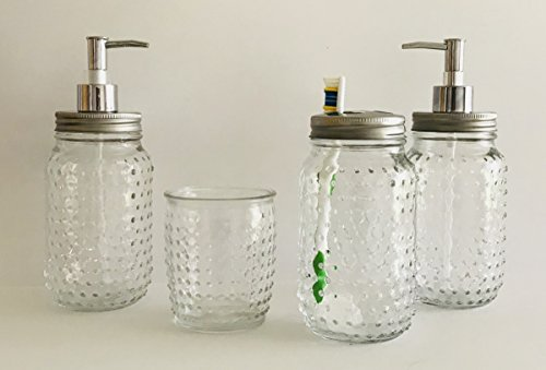 Hobnail Clear Glass 4 Piece Design Bath Accessory Set | 24 oz Soap Dispenser | 24 oz Toothbrush Holder | 24 oz Lotion Dispenser | 14 oz Cup - Clear Glass 4 Piece Hobnail Design Bath Accessory Set | 24 oz Soap Dispenser | 24 oz Toothbrush Holder | 24 oz Lotion Dispenser | 14 oz Cup Wonderful For Yourself, Guests, Vacation House, Office And More Hobnail Clear Texture Design - bathroom-accessory-sets, bathroom-accessories, bathroom - 419e1R%2B 69L -