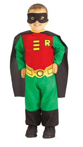 Rubie's Costume Co Teen Titans Robin Jumpsuit, Green/Red/Black, Infant 6 - 12 (Teen Boy Costume Ideas)