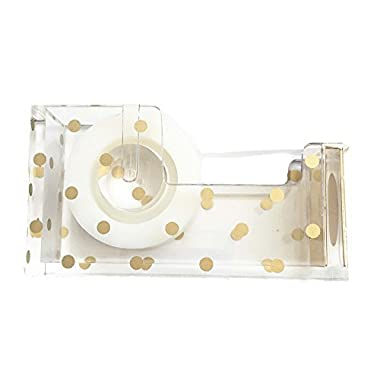 Gold Polka Dot Acrylic Tape Dispenser (5 x 3 x 1.5 inches) - Chic, Modern Desk and Office Supplies