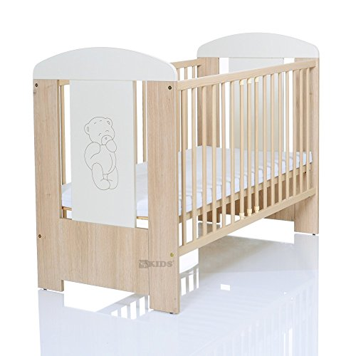 Kinderbett 120x60 inkl. Matratze 3-fach höhenverstellbar | 3 Schlupfsprossen | weiß-beige LCP Kids 64