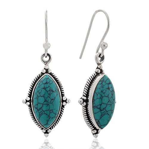 Sterling Silver Blue Turquoise Gemstone Vintage Marquise Shape Rope Edge Dangle Hook Earrings 1.4