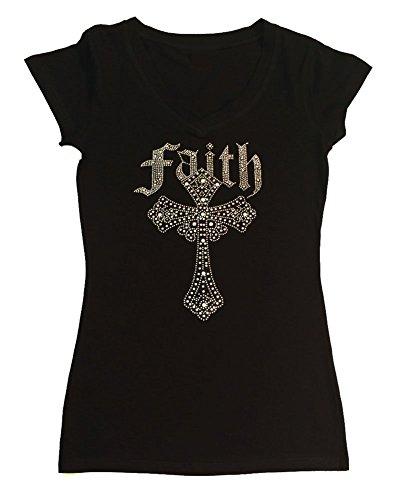 Faith Womens Cap Sleeve T-shirt - Womens T-Shirt with AB Faith Cross in Rhinestones (2X, Black Cap Sleeve)