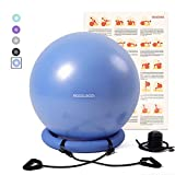 RGGD&RGGL Yoga Ball Chair, Exercise Balance Ball Chair 65cm with Inflatable Stability Ring, 2 Resistant Bands and Pump for Core Strength and Endurance (Upgrade Blue)