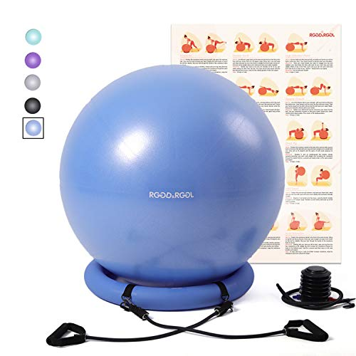 RGGD&RGGL Yoga Ball Chair, Exercise Balance Ball Chair 65cm with Inflatable Stability Ring, 2 Resistant Bands and Pump for Core Strength and Endurance (Upgrade Blue) by RGGD&RGGL (Image #1)