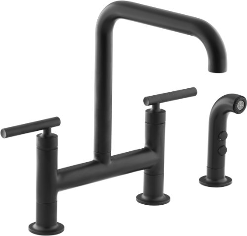 KOHLER K-7548-4-BL Purist Deck-Mount Bridge Faucet with Sidespray, Matte Black