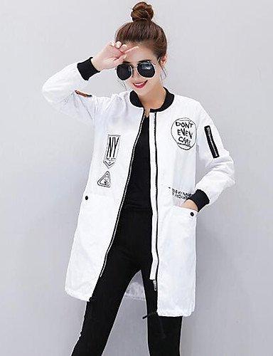 Xuanku Femmes 039;S Facile Simple Chute Quotidienne Trench Coat,Imprimer Manches Longues à Capuche Longue d'autres blanc XL