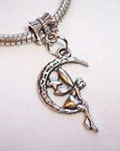 Glamorise Beads #14321 Fairy Crescent Moon Celestial Dangle Bead fits Silver European Charm Bracelets