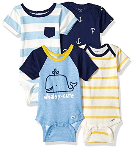 Gerber Baby Boys 4-Pack Short-Sleeve Onesies Bodysuit, Whaley-Cute, 3-6 Months -