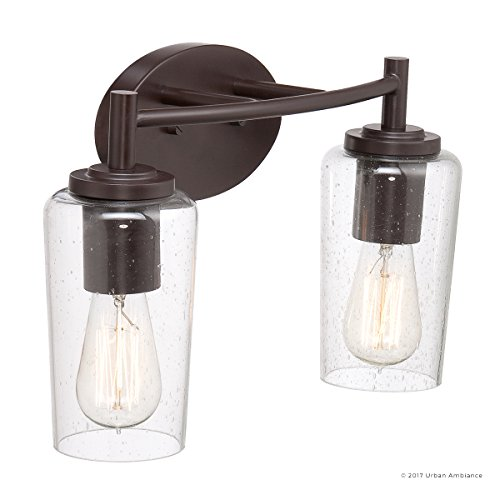Luxury Vintage Bathroom Vanity Light, Medium Size: 10''H x 16''W, with Antique Style Elements, Elegant Estate Bronze Finish and Seeded Glass, Includes Edison Bulbs, UQL2271 by Urban Ambiance by Urban Ambiance (Image #7)
